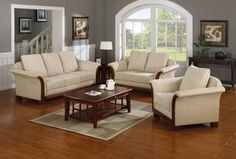 3 Pieces Contemporary Cream Plush Microfiber Living Room Set