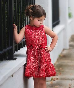 Trish Scully Child Red Bow Lace Dress - Toddler & Girls | zulily