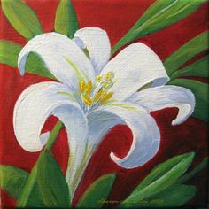 Easter Lily by Sharon Marcella Marston - Easter Lily Painting - Easter Lily Fine Art Prints and Posters for Sale Simple Oil Painting, Lily Painting, Acrylic Painting Flowers, Simple Acrylic Paintings, Spring Painting, Paintings I Love, Painting Trees, Easter Paintings, Easter Art