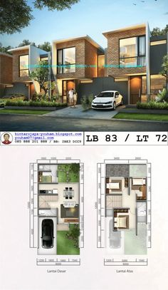 bintaro neou - Google Search Duplex House Plans, New House Plans, Modern House Plans, Small House Plans, House Floor Plans, D House, Sims House, Facade House, Minimalist House Design
