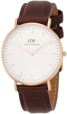 Daniel Wellington - 0511DW - Bristol - Montre Mixte - Quartz Analogique - Cadran Blanc - Bracelet Cuir Marron: Amazon.fr: Montres