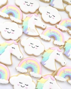 These cookies were made for the beautiful pastel unicorn dreams inspired party designed, styled and coordinated by luxe party specialists… Rainbow Sugar Cookies, Sugar Cookie Royal Icing, Fancy Cookies, Cute Cookies, Unicorn Birthday Parties, Unicorn Party, Birthday Ideas, Little Pony Cake, Unicorn Foods