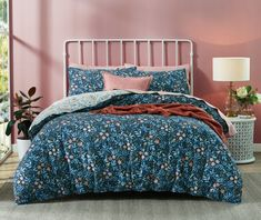 Wake up in a warm, whimsical sanctuary with the Red Robin flannelette quilt cover set. Hand-painted red robins are nestled amongst soft blue foliage, and highlighted by coral, peach and yellow ochre flowers. Bedroom Retreat, Bedroom Inspo, Bedroom Decor, Bedroom Ideas, Flannelette Sheets, Double Quilt, Single Quilt, Robin Bird, Bed Linen Design