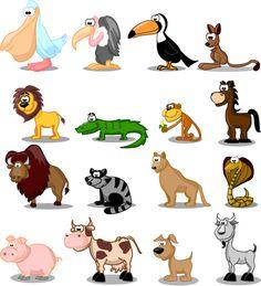 animales tipo cartoon - vector-b, imagen vectorial.