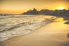 Warm Sunset on Ipanema Beach with People, Rio de Janeiro, Brazil