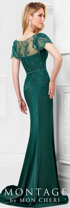 Formal Evening Gowns by Mon Cheri - Spring 2017 - Style No. 117908 - hunter green evening dress with beaded lace bodice and illusion scalloped short sleeves