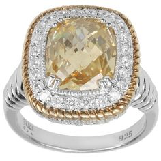 Marc 14k Yellow Gold Overlaid Sterling Silver Canary Cubic Zirconia Ring