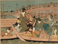 A Japanese woodblock print of a boating party The women are wearing silk kimonos Original Artwork Drawn by Gillot