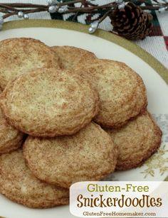 Gluten-Free Snickerdoodles - butter, sugar, egg, vanilla, rice flour, potato starch, salt, cream of tartar, baking soda, xanthan gum, sugar & cinnamon for rolling.   The Gluten-Free Homemaker