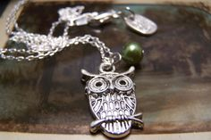 An Owl Necklace in Pewter by EmilinaBallerina on Etsy