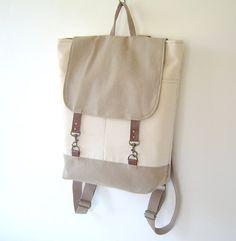 Natural Ivory and Beige Canvas Backpack, Unique Design of BagyBag