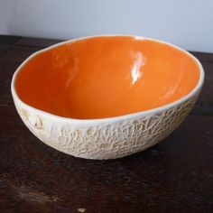 Ceramic Cantelope Bowl - perfect, I would serve fruit out of it all the time!