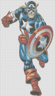Captain America cross stitch pattern... Not sure I'm nerdy enough to spend that much time on a Cap cross stitch
