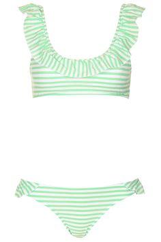 Apple Stripe Frill Crop Bikini - Swimwear - Clothing - Topshop USA