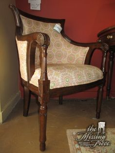 """Traditional style accent chair in a dark finish with cool retro patterned upholstery. Would be nice in a living room, bedroom or even an office! 24""""wide x 25""""deep x 36""""high. At posting, we have two of these."""