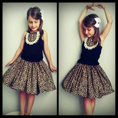 Leopard/cheetah print set. skirt and tank top. by LittleGrayandCo Girls, babies,  fashion,  school, birthday,  wedding, flower girl, skirt, laxe, pearl, dress, Tank top, Easter, spring, Summer