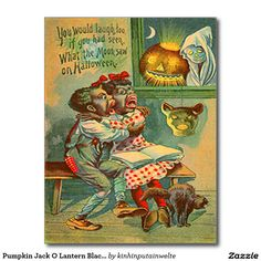 Pumpkin Jack O Lantern Black Cat Ghost Postcard
