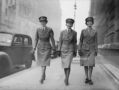 Nursing Officers Vera Bryan, Mary White and Ruth Waintree of the Queen Alexandra's Royal Army Nursing Corps walking out in their new peaked uniform caps, 22nd March 1943. The new cap is designed to be practical in service use and also to save material.