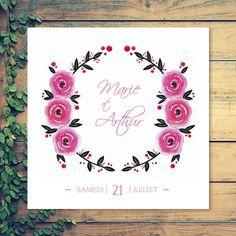 Faire-part de mariage, couronne de fleurs, roses