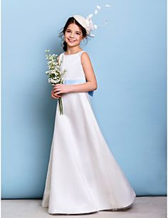 03325aada7   69.99  A-Line Jewel Neck Floor Length Satin   Tulle Junior Bridesmaid  Dress with Bow(s)   Sash   Ribbon by LAN TING BRIDE®   Natural
