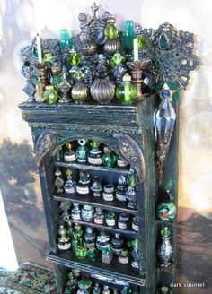 Wicked Seduction  OOAK Assemblage Cupboard in Absinthe Greens 1/12 scale by Dark Squirrel Victoria