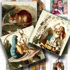 Alice in Wonderland 63 Images through the looking glass Vintage Digital Collage Sheet inchies scrabble tile square 1 inch images. $3.50, via Etsy.