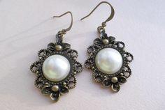 "Christmas Gift: Brass Earrings ""Moon Pearl""  from Schicki Schmuck by DaWanda.com"