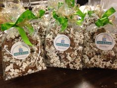 Popcorn in milk, dark, or white chocolate makes a perfectly sweet and salty treat for your special clients, employees, and sponsors.