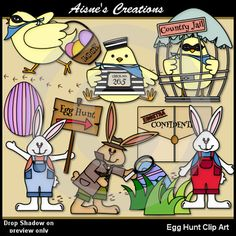 Egg Hunt Clip Art Set - with 33 color graphics and 19 black & white graphics