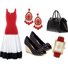 Black, White, and Red Outfit