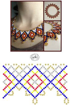 Diy Necklace Patterns, Seed Bead Patterns, Beaded Jewelry Patterns, Beading Patterns, Bead Jewellery, Seed Bead Jewelry, Necklace Tutorial, Beads Tutorial, Beaded Crafts