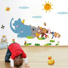 retail cartoon animal stickers laptop baby room kindergarten classroom wall sticker lovely removable wallpaper home decoration Jungle Wall Stickers, Kids Room Wall Stickers, Removable Wall Stickers, Wall Decor Stickers, Sticker Ideas, Wall Decals, Cartoon Wall, Jungle Cartoon, Classroom Walls