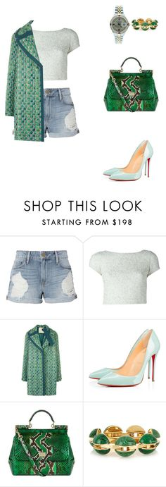 """""""Darmatologist office in Bervely Hills."""" by cmmpany ❤ liked on Polyvore featuring Frame, Alice + Olivia, Marco de Vincenzo, Christian Louboutin, Dolce&Gabbana, Chloé and Rolex"""