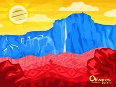 Arte con nuestra bandera inspirado en el Salto Ángel. Artista Oscar Olivares @olivarescfc Venezuela Flag, My Roots, Bike Art, Kyoto Japan, Best Memories, Akira, Primary Colors, Digital Art, Illustration Art