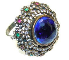 $67.25 Exotic Blue Sapphire Quartz Sterling Silver ring s. 6 1/2 at www.SilverRushStyle.com #ring #handmade #jewelry #silver #sapphirequartz