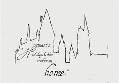 """Hogwarts will always be there to welcome you home."" - Thinks Tatto Harry Potter Tattoos, Harry Potter Drawings, Harry Potter Pictures, Harry Potter Love, Harry Potter Hogwarts, Literary Tattoos, Hogwarts Tattoo, Harry Potter Ilustraciones, Castle Silhouette"