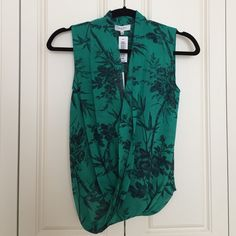 NWT Aritzia Babaton Japanese Print Silk Blouse NWT Aritzia Babaton Japanese Print Silk Blouse. 100% Silk. Draped front with small clasp to control neckline. Elastic detail on back waist. Jade green with navy print. Aritzia Tops Blouses