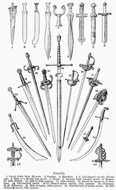 art-of-swords:  Different types of Swords 1. Sword blade from Mycene 2. Persian 3. Egyptian 4. - 5. Leaf-shaped sword (Broze Age) 6. Hilt of a Bronze Age sword 7. Greek 8. Ancient Irish wooden sword 9. Roman 10. 13th Century sword 11. 14th to 15th Century sword 12. 16th Century sword 13. Sword of James IV 14. Two-handed sword 15. - 17. Basket-hilted rapiers, 17th Century 18. Claymore 19. - 20. Scimitars 21. Hilt of a rapier, 18th Century 22. Jewelled hilt of Indian Sword 23. Hilt of a French…