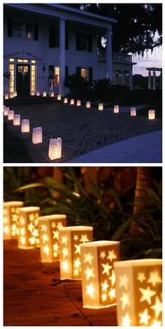 54 Trendy Ideas For Outdoor Lighting Ideas Party Paper Lanterns Outdoor Party Lighting, Lighting Ideas, Wedding Lighting, Paper Bag Lanterns, Starry Night Prom, Candle Bags, Theme Halloween, Pool Party Decorations, Wedding Paper