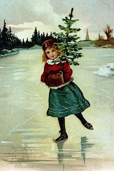 A young Victorian girl skates home with her baby Christmas tree in hand.