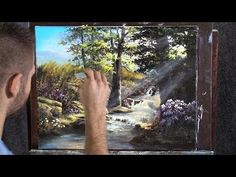 Watch an artistic, landscape painting of a beautiful creek sunset with vivid colors, filled with sunlight being crafted in acrylic paint. Canvas Painting Tutorials, Acrylic Painting Techniques, Painting Videos, Painting Art, Kevin Hill Paintings, Bob Ross Paintings, Learn To Paint, Bird Art, Art Lessons