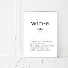 Wine Print, Wine Definition by PrintsMiuusStudio