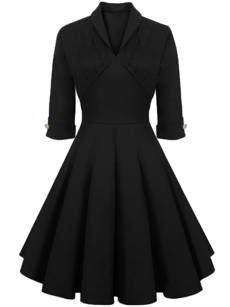 Graceful Shawl Collar Decorative Button Solid Skater Dress