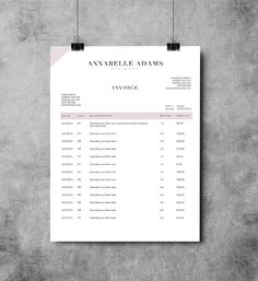 Adams 2 page invoice template | Receipt template | Invoice design | MS Word Invoice by EmandCoDesign on Etsy