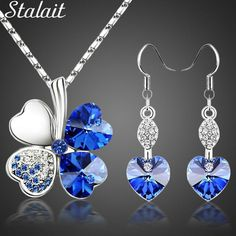 Check it out: Hot sale lucky Silver Color clovers necklace Austrian crystal from Swarovski necklace earring jewelry set free shipping 9554