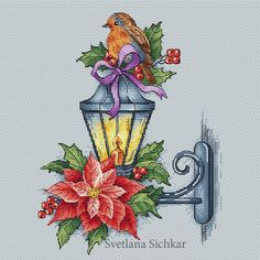 "Cross stitch design ""Lantern with a bird"" #sa_stitch #sa_pattern #pattern #crossstitch"