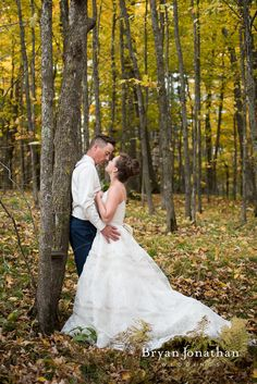 Bride and groom portrait on wedding day.