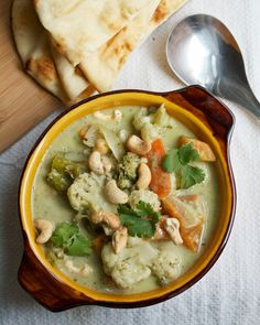 Vegetable Korma with Homemade Curry Paste and Warm Naan