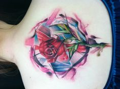 My newest tattoo. A watercolor tattoo inspired by Beauty and the Beast. By Krist Karloff at 7 Shangri-Las in Newburgh, In.