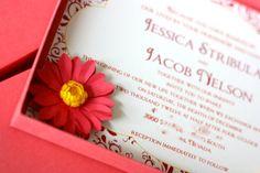 Daisy Sunset Boxed Invitation  $10.50  Buy It Now!: http://etsy.me/YRrVop  #custominvitations #invitations #weddinginvitations #babyshowerinvitations #partyinvitations